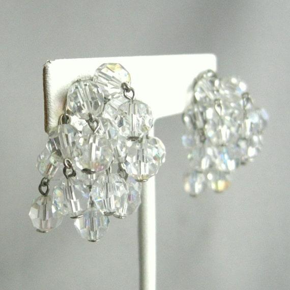 Large vintage Austrian crystal beaded earrings, clip on