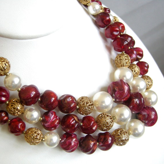 Vintage triple strand necklace with cranberry, pearl, and gold filigree beads