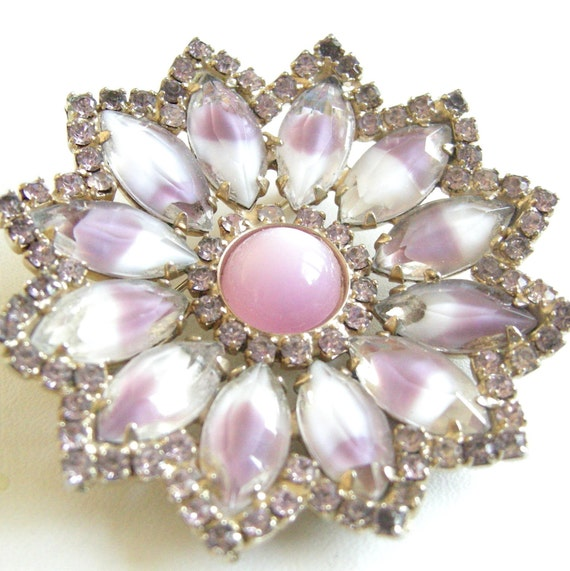 Vintage gold tone flower brooch with pink and orchid glass cabs, rhinestones