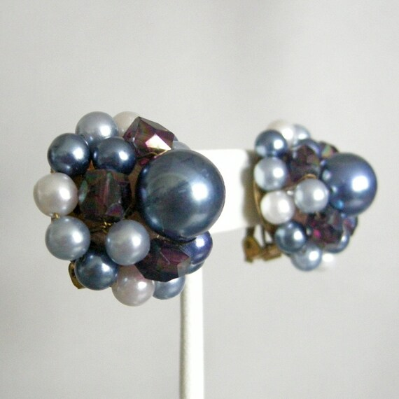Vintage blue faux pearl beaded dome earrings with clip on backs