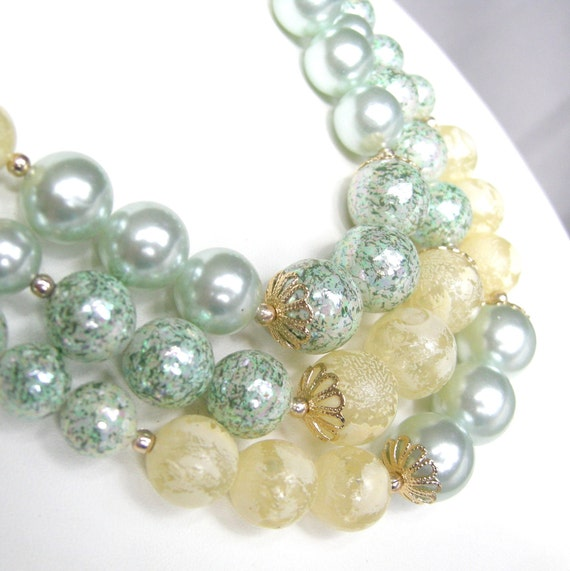 Vintage triple strand sea foam blue and yellow beaded necklace