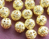 100pcs 6mm Gold Electroplated Filigree Beads h54