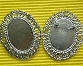 Brooch Base 10pcs 30x40mm Silver Cameo Brooch Backings S55--20% OFF