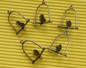 Birdcage Pendants 10pcs 23x12mm Antique Bronze Bird Cage Charms 20943