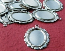 Cameo Setting 15pcs 13x18mm White Gold  Cabochons Settings Cameo Base S14--20% OFF