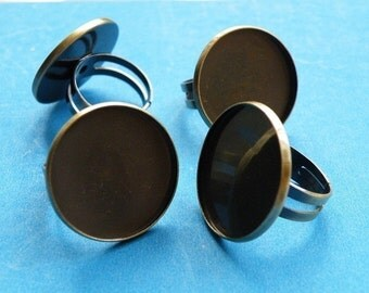 Ring Blanks -- 10pcs Adjustable Antique Bronze Ring Base 22mm pad H53--20% OFF
