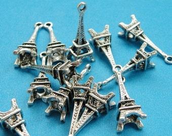20pcs 23x8mm Antique Silver Eiffel Tower Pendant Charm