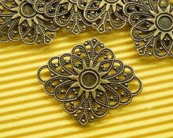 10pcs 40mm Antique Bronze Filigree Wire Wrap Base S164--20% OFF