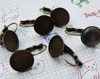 Earring Base 100pcs Antique Bronze Cabochon Earring Setting 12mm Pad M46--20% OFF