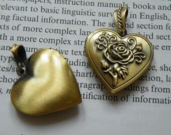 2pcs 28x26mm Antique Bronze Heart Locket Pendant