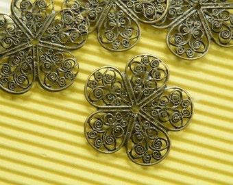 10pcs 37mm Antique Bronze Filigree Base Wire Wrap S113--20% OFF
