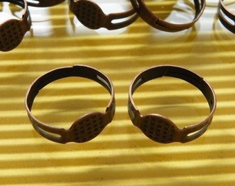 25pcs Adjustable Antique Copper Ring Base with Flat Pad H72--20% OFF