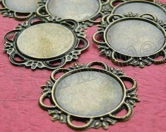 Cameo Setting 20pcs 20mm Antique Bronze Cabochons Settings Cameo Base S34--20% OFF