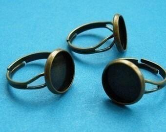 Ring Blanks -- 100pcs Adjustable Antique Bronze Ring Base 12mm pad H79--20% OFF