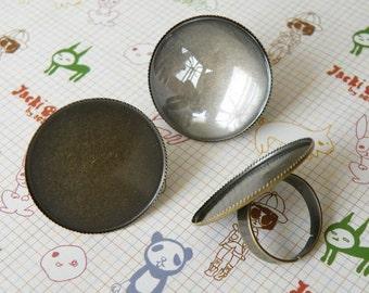 Ring Blanks -- 10pcs Adjustable Antique Bronze Ring Base 30mm pad H96--20% OFF