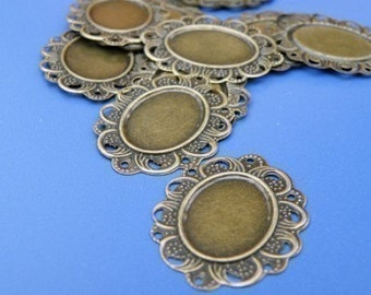 Cameo Setting 50pcs 24x31mm Antique Bronze Cabochons Settings Cameo Base S18--20% OFF