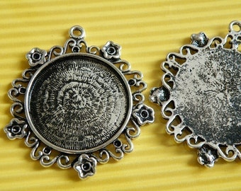 Cameo Setting 2pcs 28mm Antique Silver Cabochons Settings Cameo Base  P006--20% OFF