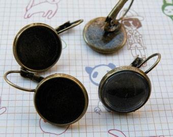 Earring Base 10pcs Antique Bronze Cabochon Earring Setting 14mm Pad M50--20% OFF
