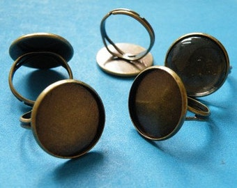 Ring Blanks -- 50pcs Adjustable Antique Bronze Ring Base 18mm pad H86--20% OFF