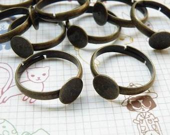 Ring Blanks -- 10pcs Adjustable Antique Bronze Ring Base 8mm pad H55--20% OFF