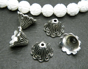 10pcs 10x15MM Antique Silver Filigree Flower Beads Caps h10