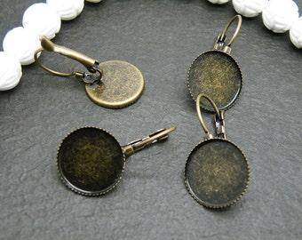 Earring Base 100pcs Antique Bronze Cabochon Earring Setting 15mm Pad M63--20% OFF