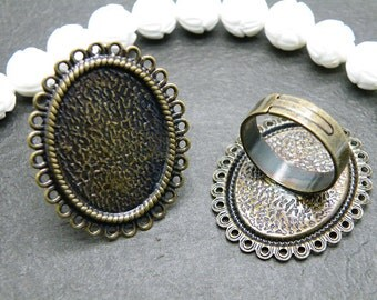 Ring Blanks -- 10pcs Adjustable Antique Bronze Ring Base 18x25mm pad H15--20% OFF