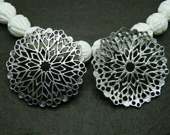 5pcs 32mm Antique Silver Decagonal Filigree Flower Pendant P446