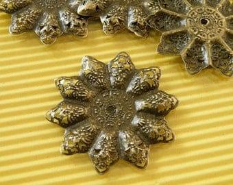 10pcs 45mm Antique Bronze Filigree Flower Wire Wrap Base S126--20% OFF