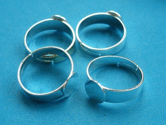 Ring Blanks -- 10pcs Adjustable Bright Silver Ring Base 8mm pad H61--20% OFF