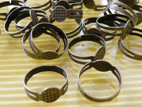 25pcs Adjustable Antique Bronze Ring Base with Flat Pad H71--20% OFF