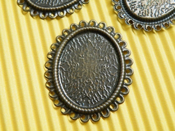 Cameo Setting 100pcs 25x18mm Antique Bronze Cabochons Settings Cameo Base S10--20% OFF