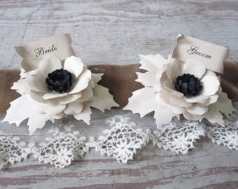 Bride and Groom Paper Flower Place Cards