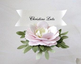 Pink, Cream, Green Handmade Paper Flower Place Cards