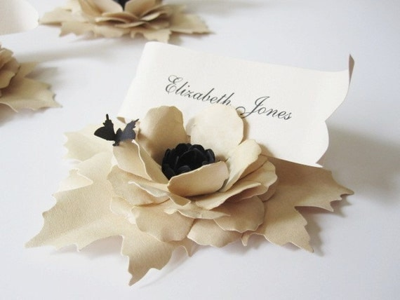 5 Handmade Paper Flower Place Cards with Butterfly