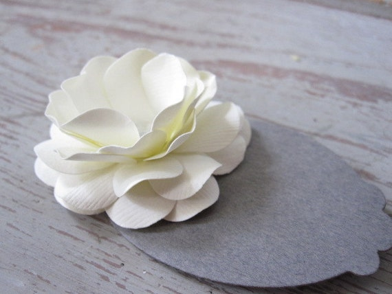 Ivory and Grey Handmade Paper Flower Place Cards-Set of Ten
