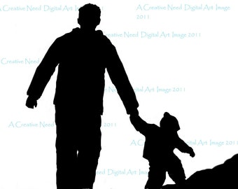 INSTANT DOWNLOAD Father Son Walk Digital Stamp Image  Scrapbooking, Cards, ATCs, Mixed Media