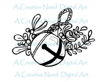 INSTANT DOWNLOAD Santa's Sleigh Bell Digital Stamp Image