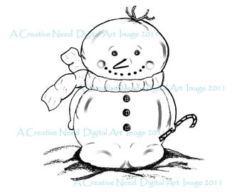 INSTANT DOWNLOAD Mr. SNOWMAN Digital Stamp Image for Cards, Scrapbooking, ATCs, Mixed Media Art