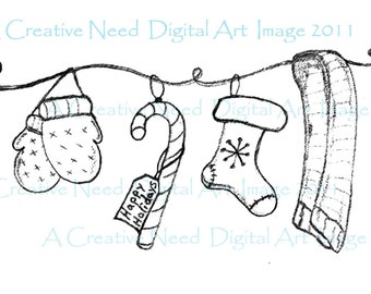 INSTANT download HOLIDAY Christmas LAUNDRY Line Digital Stamp Image for Cards, graphic art, mixed media