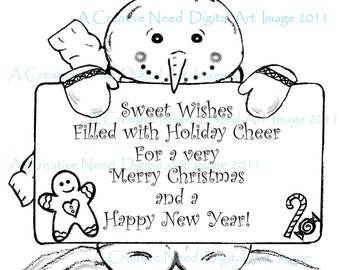 INSTANT Download Digital Stamp Image SNOWMAN with Holiday Sentiment Sign, Christmas image, Snowman image.