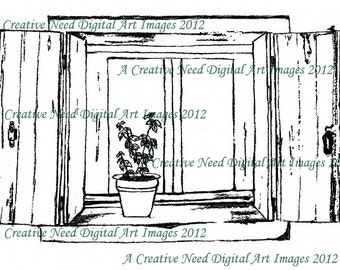 INSTANT DOWNLOAD Digital Stamp Image Cottage WINDOW for Cards, Scrapbooking, Mixed Media Art