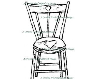 INSTANT DOWNLOAD Country Heart Chair Digital Stamp Image
