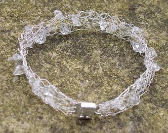 Crochet Bracelet - Quartz Crystal Bracelet - Crochet Wire Bracelet