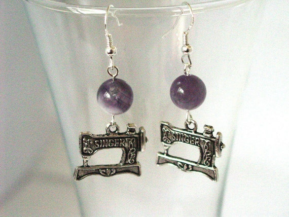 Sewing Machine Charm Earrings with Purple Amethite and Sterling Silver Earwires