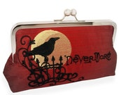 Poe's Raven Silk Clutch in Blood Red