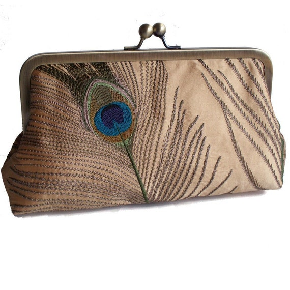 Peacock Feathers Embroidered Silk Clutch Purse in Gold