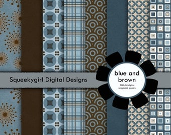 Brown and Blue Digital Paper -  8 Pack - 12 x 12 in