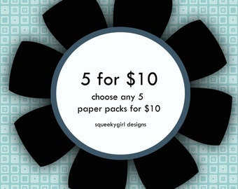 5 Digital Scrapbook Paper packs for 10 dollars