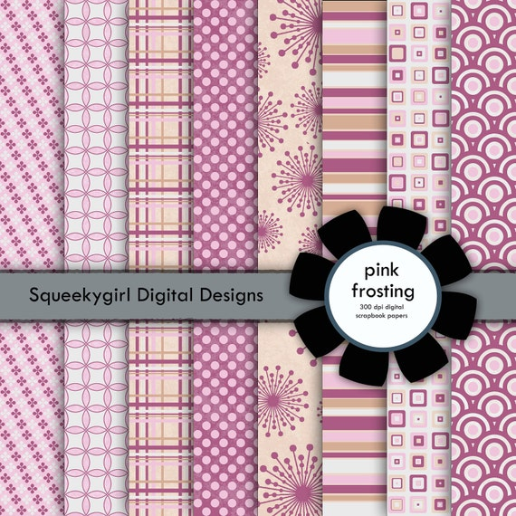Pink Frosting digital paper - 8 pack 12x12 inches - Digital Download